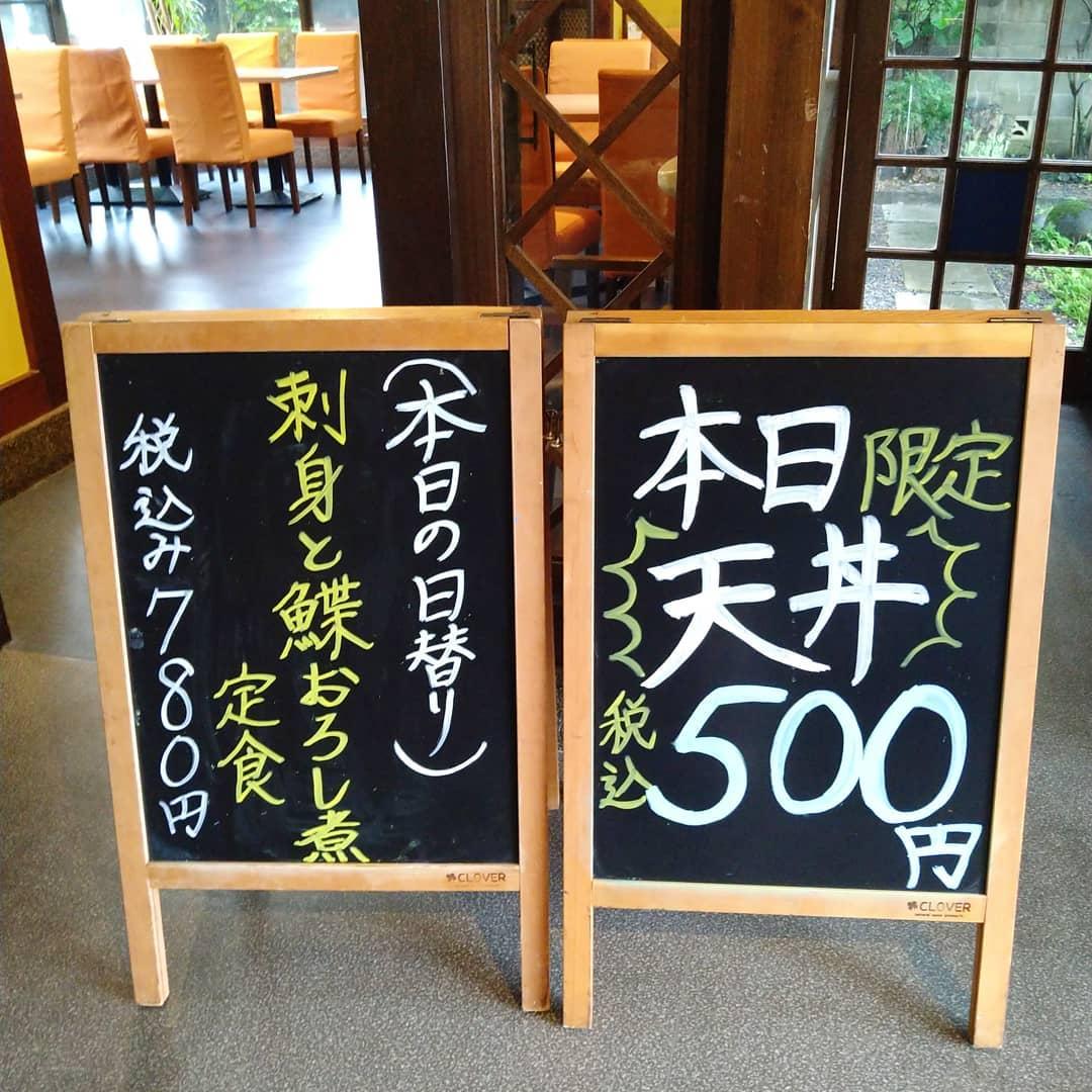 おはようございます! 本日金曜日は天丼ワンコインデー、税込みで500円です  日替わりランチは、お刺身とカレイのおろし煮の定食になります!  本日もご来店を心よりお待ちしております️